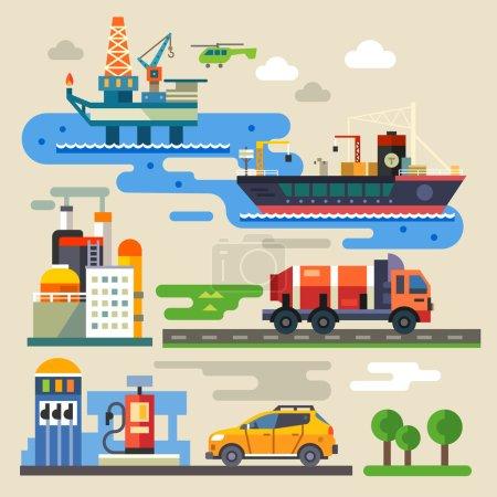 Illustration pour Appareil pétrolier, transport, ravitaillement. Industrie et environnement. Illustration plate vectorielle couleur - image libre de droit