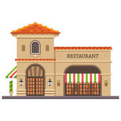 Restaurant building Italian pizza and pasta Food delivery Set of elements for construction of urban and village landscapes Vector flat illustration