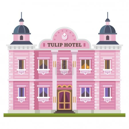 Illustration for Hotel building. Set of elements for construction of urban and village landscapes. Vector flat illustration - Royalty Free Image