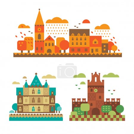Medieval castles in the fall. European architectur...