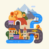 Set of landscapes Rainy autumn day in the city street with houses cars and people with umbrella Rainbow after the rain in the countryside mountains and fields Vector flat Illustrations