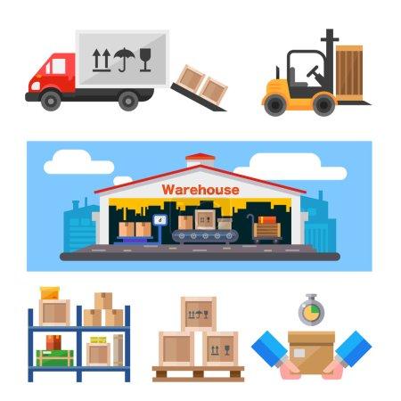 Ilustración de Almacén y todas las cosas: almacén de construcción, carro, cargador con peso, estantes con cajas. Conjunto de ilustración vectorial plana. - Imagen libre de derechos