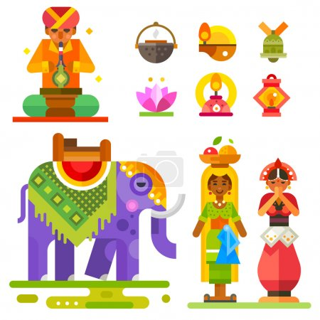 Illustration for Diwali - Indian festival of lights: Indian man and women, an elephant, lanterns, water lily flower. Flat stock vector illustration set. - Royalty Free Image