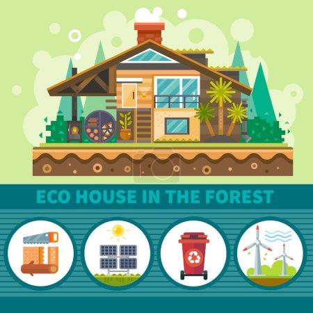 Illustration pour Maison écologique dans la forêt. Symboles d'environnement propre : sources d'énergie alternatives, récipient de recyclage, bâtiment en bois, panneaux solaires. Ensemble d'illustration plat vectoriel de stock . - image libre de droit