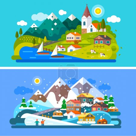 Illustration for Nice Alps landscapes. Mountain and Lake views: chapel, boats on a lake, cows roaming on the alpine meadows, snow mountains, snowboarding people, alpine village, Stock vector illustration flat set. - Royalty Free Image