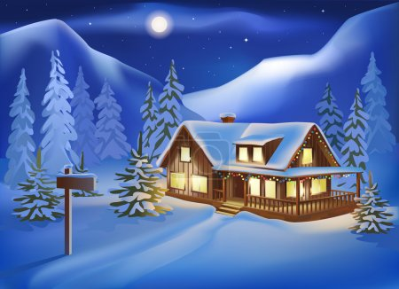 Rural house among the snow-covered hills on Christmas Eve. Night
