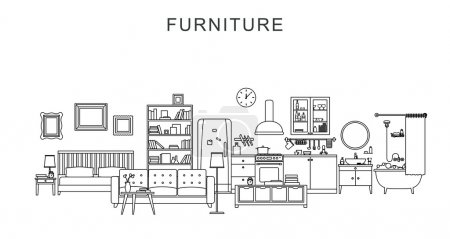 Illustration for Vector line illustration of furniture and home decoration. - Royalty Free Image