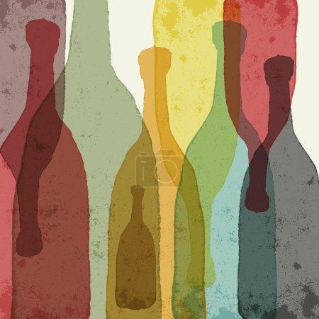 Illustration pour Bouteilles de vin, whisky, tequila, vodka. Silhouettes aquarelle . - image libre de droit