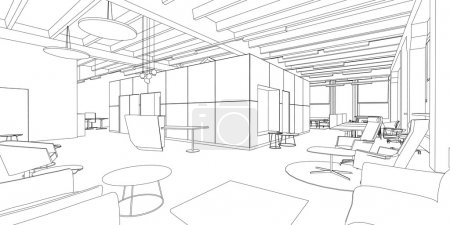 Illustration for Outline sketch of a interior office space. - Royalty Free Image