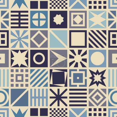 Illustration for Square seamless pattern. Geometric background in blue color - Royalty Free Image