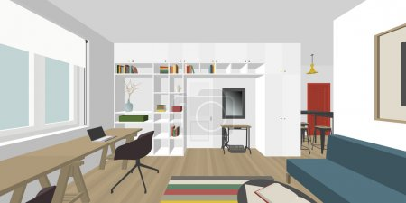 Illustration for Perspective view of the interior living room - Royalty Free Image
