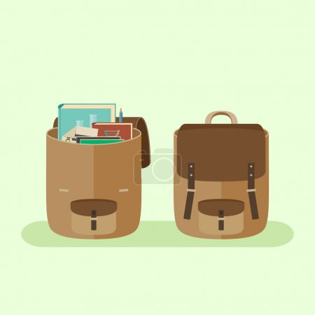 Illustration for Simple vector flat icon of open and closed school backpacks. - Royalty Free Image