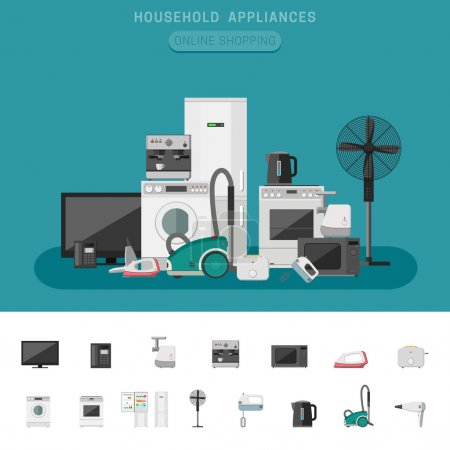 Illustration for Household appliance banner with vector flat icons microwave, coffee machine, washing machine, etc. - Royalty Free Image