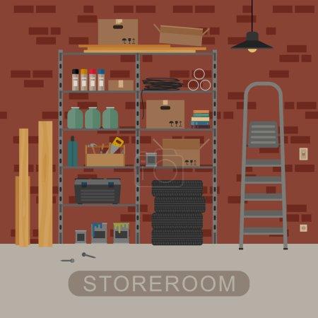 Storeroom interior with brickwall.