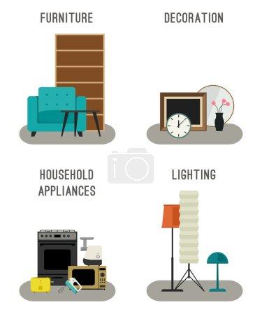 Illustration pour Set icônes de meubles, d'éclairage, de décoration et d'appareils ménagers . - image libre de droit