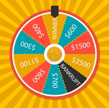 Illustration for Wheel of luck, close up, vector illustration. On yellow background - Royalty Free Image