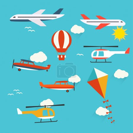 Illustration for Planes, helicopters,  hot air balloon and kite, vector illustration - Royalty Free Image