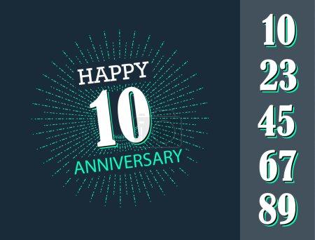Illustration pour Bon anniversaire signe avec des chiffres fixés dans le style de contour - image libre de droit