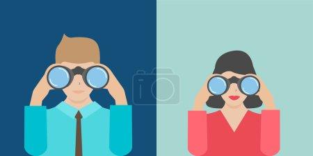 Illustration for Businesswoman and businessman holding binoculars, vector illustration - Royalty Free Image