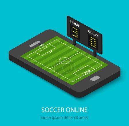 Isometric soccer online concept
