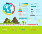 Train infographics vector illustration