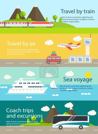 Illustration pour Ensemble de bannières Web de voyage. Avec l'avion, le train - image libre de droit
