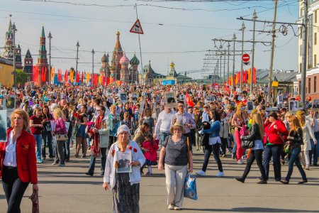 Immortal regiment of Moscow May 9, 2015. 70 Years of Victory