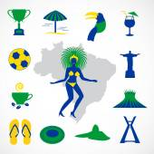 Brazil icons with carnival woman Dancer
