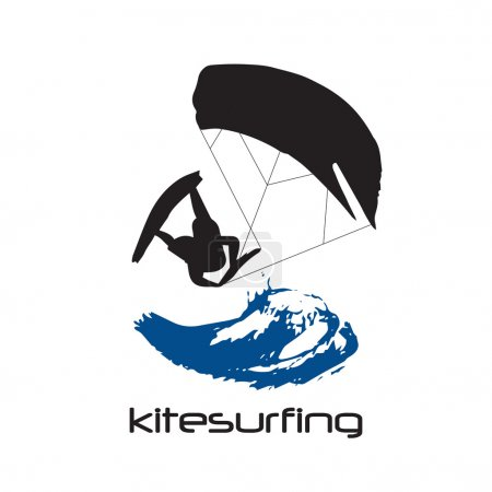 Black Silhouette of kitesurfing man