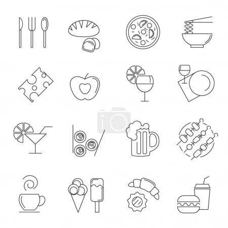 Photo pour Différents aliments et boissons icônes linéaires - image libre de droit