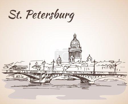 Illustration pour Cathédrale Saint-Isaac et pont à Saint-Pétersbourg, Russie. Croquis à la main. Illustration vectorielle . - image libre de droit