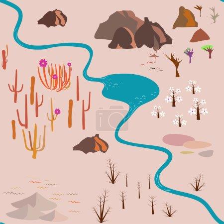 Illustration pour Modèle sans couture : savane, cactus, rochers, arbres, rivière - image libre de droit