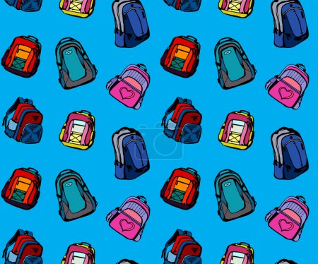 Illustration for Seamless pattern with different cute school bags - Royalty Free Image