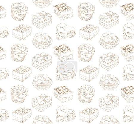 Illustration pour Mignon motif sans couture avec différents bonbons - image libre de droit