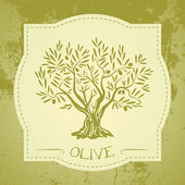 Grunge vintage label with olive tree