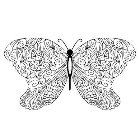 Photo pour Papillon gribouillé dessiné à la main - image libre de droit