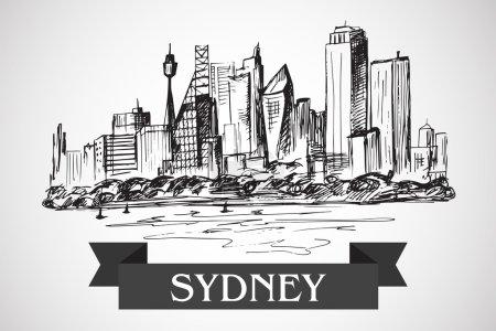 Photo pour Paysage de Sydney dessiné à la main sur fond blanc - image libre de droit