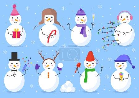 Illustration pour Bonhomme de neige joyeux ensemble avec bonbons, boule de neige, guirlande, confettis, pelle, cadeau, verre, crème glacée sur un fond bleu isolé. Style vectoriel plat. Carte de vœux. Joyeux Noël et bonne année - image libre de droit