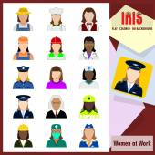 Iris Icons - Women at work Colorful flat icons