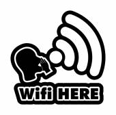 Wi-Fi Here  black and white sticker