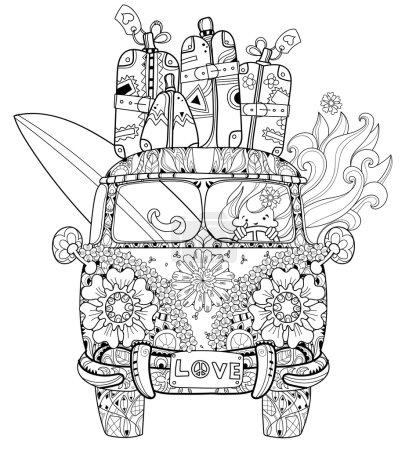 Hand drawn doodle outline retro bus travel