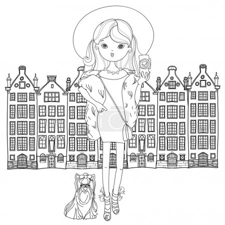 Vector cute fashion girl with dog.