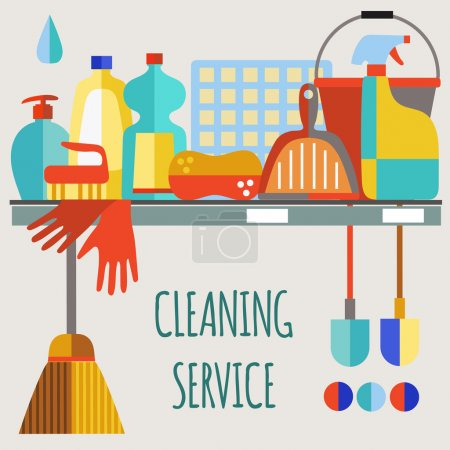 Illustration for Cleaning products flat icon vector set.Cleaning service. - Royalty Free Image