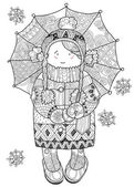 Girl under umbrella in winter hand drawn doodle