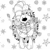 Doodle hand drawn xmas hedgehog with gift box