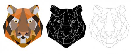 Tiger head triangular icon , geometric trendy.