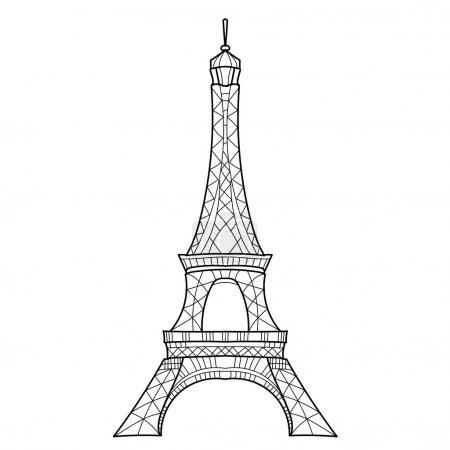 Doodle Eiffel tower. Hand Drawn vector sketch.