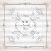 Hand-drawn ornaments design elements flourishes page decorations and dividers on striped vintage paper Can be used for invitations and congratulations