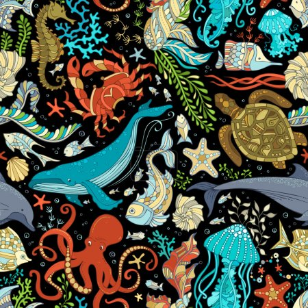 Colorful octopus, whale, dolphin, turtle, fish, st...