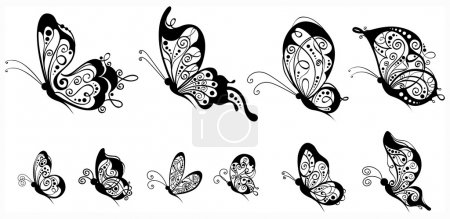 Set of butterflies, side view.